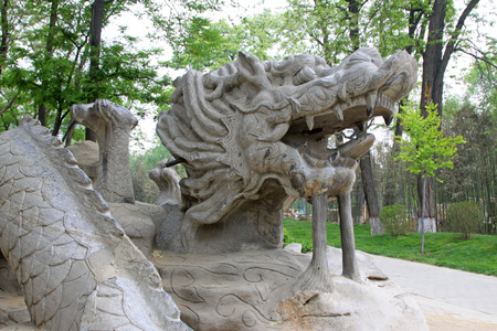 sculpture: dragon sculpture in a park, closeup of photo Stock Photo