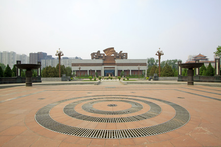 north china: Shijiazhuang - April 28: music fountain in front of the north China revolution war memorial, on April 28, 2015, shijiazhuang city, hebei province, China Editorial