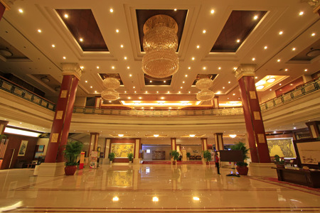 droplight: Shijiazhuang city - April 27: China hotel lobby architecture, April 27, 2015, shijiazhuang city, hebei province, China