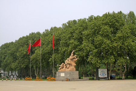 north china: Shijiazhuang - April 28: fighter sculpture in the north China military martyrs cemetery, on April 28, 2015, shijiazhuang city, hebei province, China Editorial