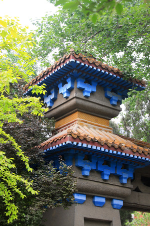 greening: Ancient Chinese architecture eaves and greening, closeup of photo