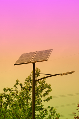 superconductor: Solar street lamp, closeup of photo Stock Photo