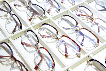 shelf: Myopia glasses on the shelf, closeup of photo
