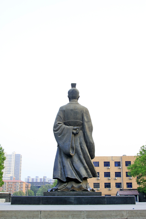 restore ancient ways: ancient Chinese characters statue in the park, closeup of photo