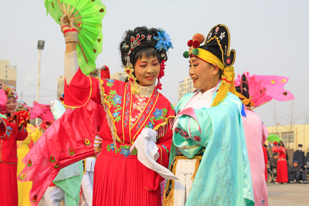 ms: LUANNAN COUNTY - MARCH 7: traditional Chinese style yangko dance performances in the square, on march 7, 2015, Luannan County, Hebei province, China