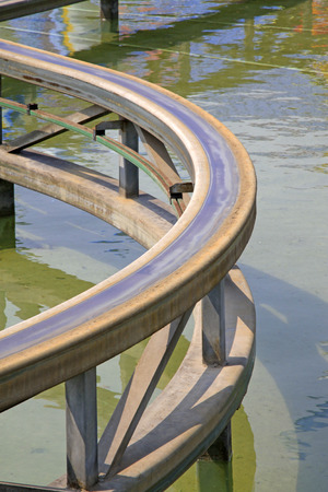 friction: Metal tracks on the water, closeup of photo Stock Photo