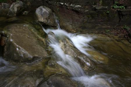 turbulence: waterfall turbulence, closeup of photo Stock Photo