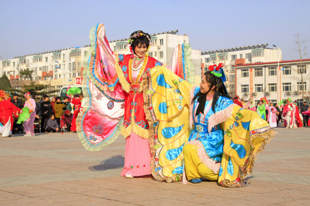 LUANNAN COUNTY - MARCH 2: traditional Chinese style yangko dance performances in the square, on march 2, 2015, Luannan County, Hebei province, China Editorial