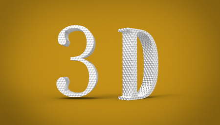 3D font in yellow background, computer generated images