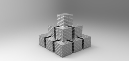 stacked: cube stacked rendering in gray background, computer generated images