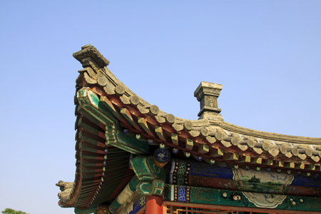 restore ancient ways: Chinese traditional building roof, closeup of photo Stock Photo