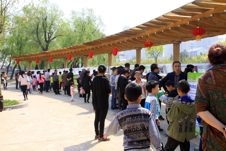 quizzes: Luannan - April 26: people at the scene of the riddle contest activities, on April 26, 2015, luannan county, hebei province, China