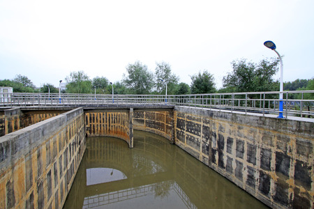 pollution free: Sewage treatment plant oxidation ditch, closeup of photo Stock Photo