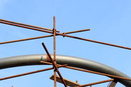 steel pipe: steel pipe scaffold, closeup of photo Stock Photo