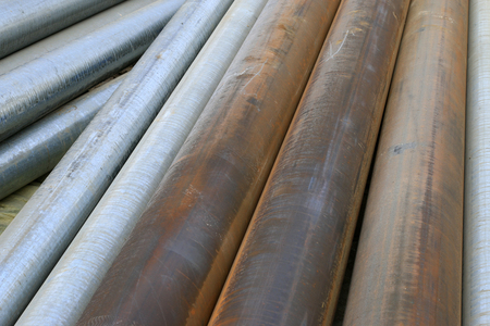 steel pipe: thick steel pipe, closeup of photo