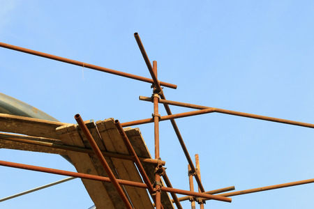resisting: steel pipe scaffold, closeup of photo Stock Photo