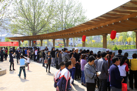 Luannan - April 26: people at the scene of the riddle contest activities, on April 26, 2015, luannan county, hebei province, China