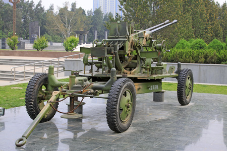 anti war: double tube of anti-aircraft guns in north China military martyrs cemetery, shijiazhuang city, hebei province, China