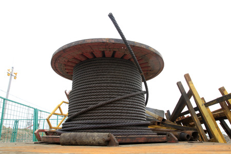 solid wire: Wire rope wheel, closeup of photo Stock Photo