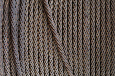 solid wire: Steel wire rope, closeup of photo Stock Photo