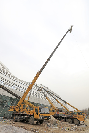 tangshan city: Tangshan tangshan - March 6: Tangshan international conference and exhibition center construction site, on March 6, 2016, tangshan city, hebei province, China