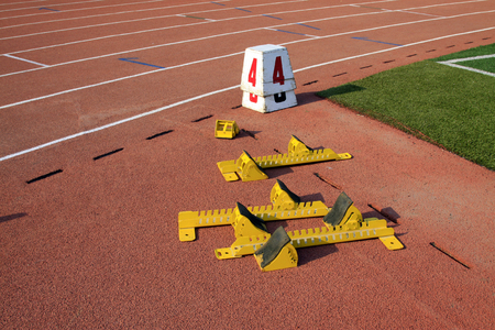 block number: starting block and serial number mark on the plastic runway