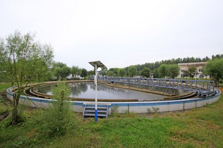 wastewater: Wastewater treatment plant settling pond, closeup of photo