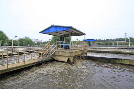 ditch: Oxidation ditch sewage treatment plant and table exposure machine, closeup of photo