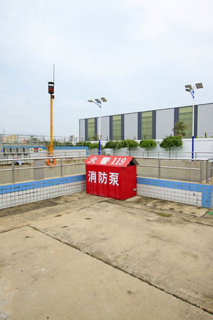 sewage treatment plant: Luannan County - September 28: Sewage treatment plant water reuse pool in mengniu dairy group co., LTD, on September 28, 2015, luannan county, hebei province, China
