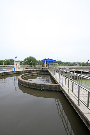 sewage treatment plant: Sewage treatment plant oxidation ditch, closeup of photo Stock Photo