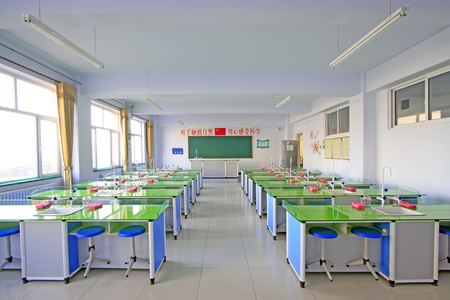primary school chemistry lab, closeup of photo