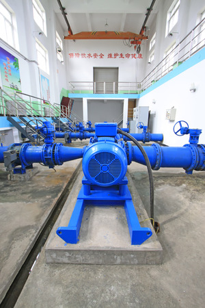 water supply: Water supply pump station of mechanical equipment, closeup of photo