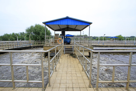 pollution free: Oxidation ditch sewage treatment plant and table exposure machine, closeup of photo