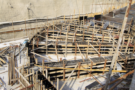 wood structure: Wooden scaffold in the construction site, closeup of photo Stock Photo
