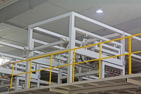 truss: Mechanical equipment truss in the workshop, closeup of photo Stock Photo