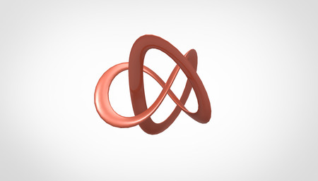 plastic pipe: 3D torus knot in gray background, computer generated images