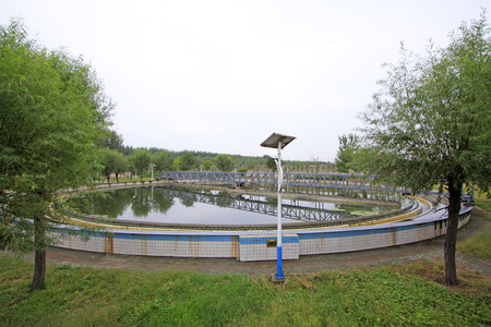 settling: Wastewater treatment plant settling pond, closeup of photo