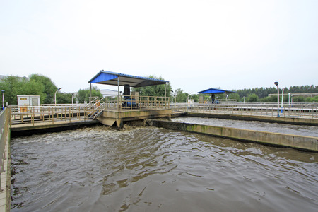 turbidity: Oxidation ditch sewage treatment plant and table exposure machine, closeup of photo