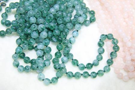 jade: Jade necklace, closeup of photo