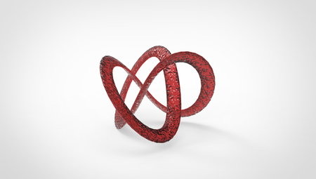gray: 3D torus knot in gray background