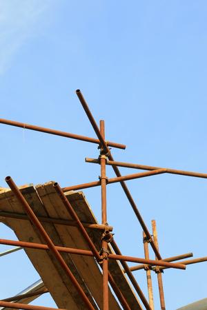 scaffold: steel pipe scaffold, closeup of photo Stock Photo