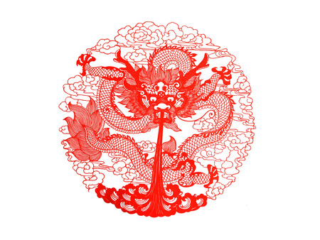 papercut: Chinese paper-cut works on white background, closeup of photo