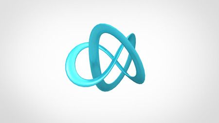 overall: 3D torus knot in gray background, computer generated images