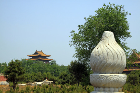 architectural style: ancient Chinese traditional architectural style palace and stone column.