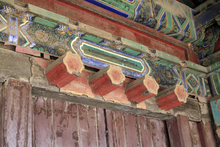 architectural style: ancient Chinese traditional architectural style wooden structure, closeup of photo Stock Photo