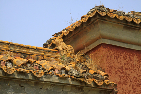 pleasure craft: ancient Chinese traditional architectural style glazed tile walls, closeup of photo Stock Photo