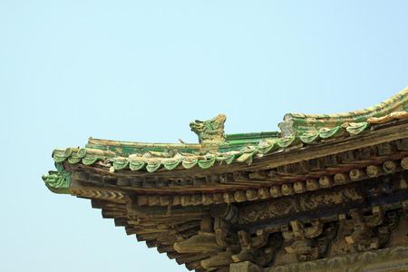 architectural style: ancient Chinese traditional architectural style roof, closeup of photo Stock Photo