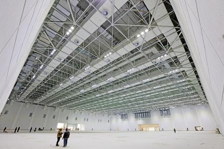 la construcción geometría de la estructura de acero en una sala