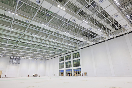 lighting: steel structure geometry construction in a hall Editorial