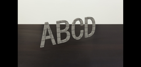 abcd: 3D font ABCD in white background